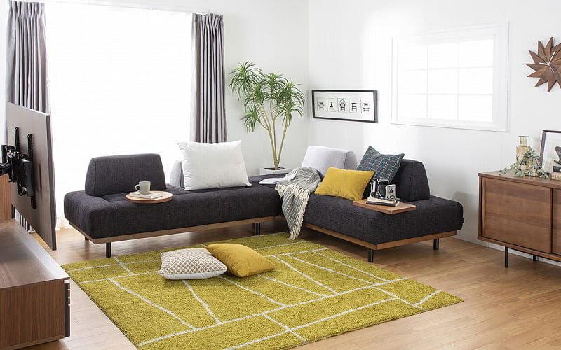 2人掛けソファー グラード 張地VE10 木部WN:自由に背もたれを組み換えできるソファ