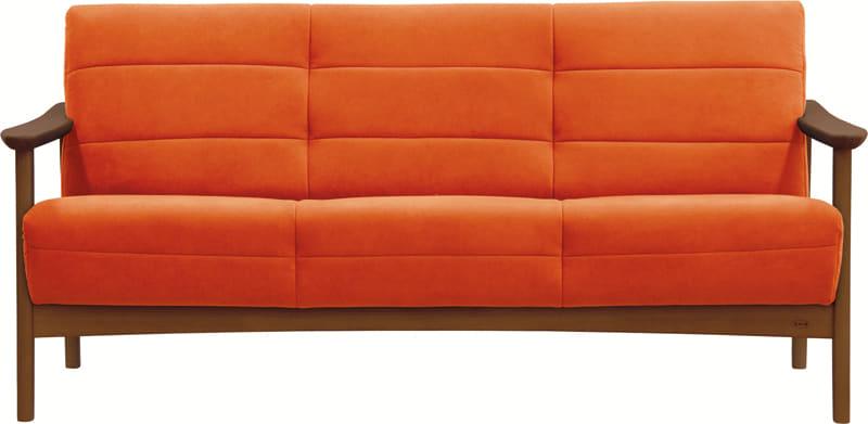 3人掛ソファー 藍 S−1088ラムース1474:《「ラムース素材」を使用した、コンパクトな木肘デザイン》