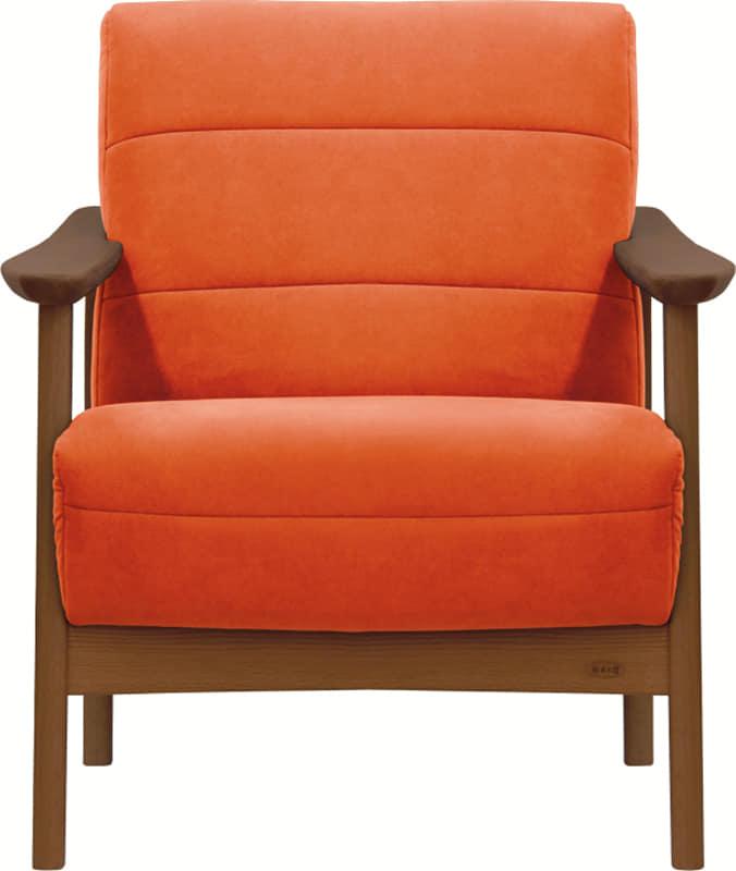 1人掛ソファー 藍 A−1088ラムース1474:《「ラムース素材」を使用した、コンパクトな木肘デザイン》
