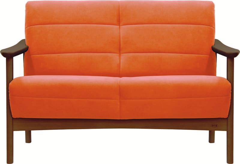 2人掛ソファー 藍 L−1088ラムース1474:《「ラムース素材」を使用した、コンパクトな木肘デザイン》