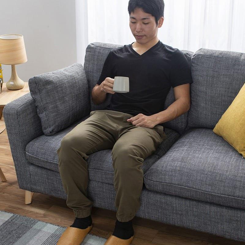 2人掛けソファー +style フィール(シルバーブラック/BR脚):座面が広くてくつろげる