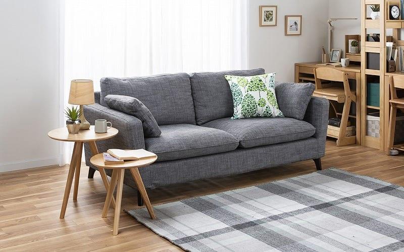 3人掛けソファー +style フィール(ネイビー/BR脚):シンプルでスタイリッシュなデザインソファー