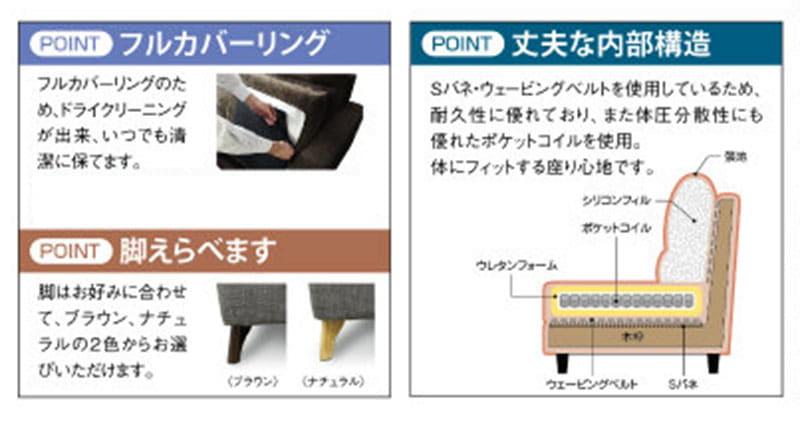 3人掛けソファー +style フィール(シルバーブラック/NA脚)