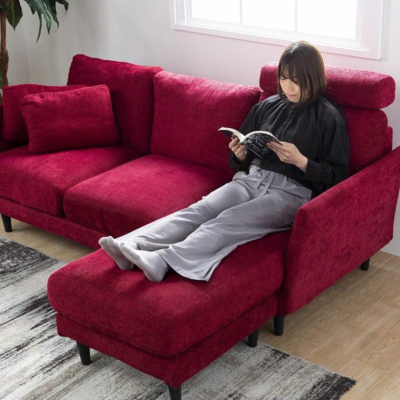 シェーズロングソファー +style ジョイ(ワインレッド):お部屋の間取りに合わせて組み換え自由自在
