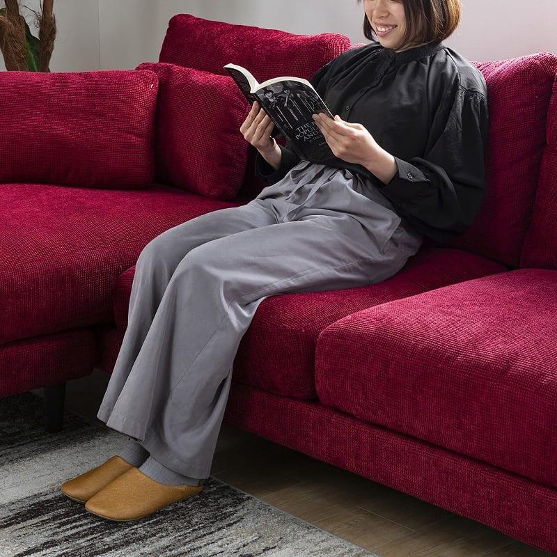 シェーズロングソファー +style ジョイ(ワインレッド):こだわりの座り心地