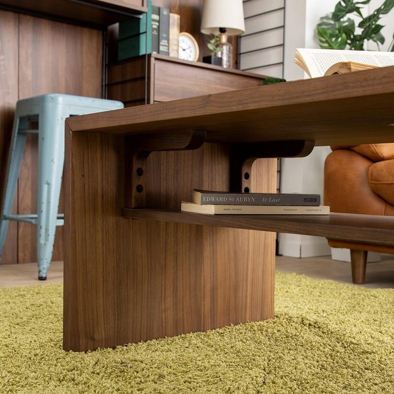リビングテーブル ウッドグレイン グルービ105CT OAK:テーブル下収納完備