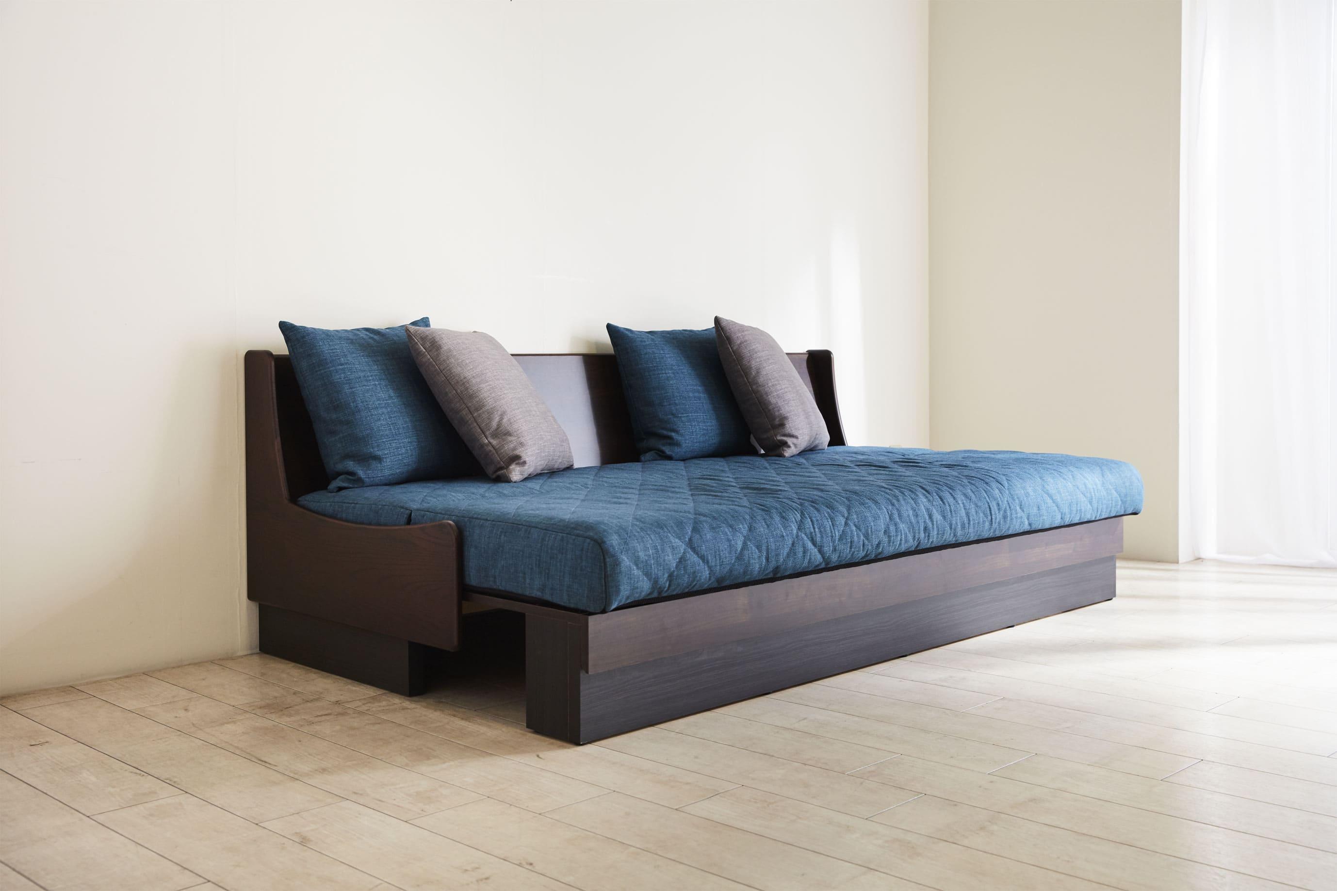 ソファベッド ドロシー 200 フレーム:BR/ファブリック:ブルー:《みんなでごろごろしてほしい「ごろ寝ソファー:ドロシー」》