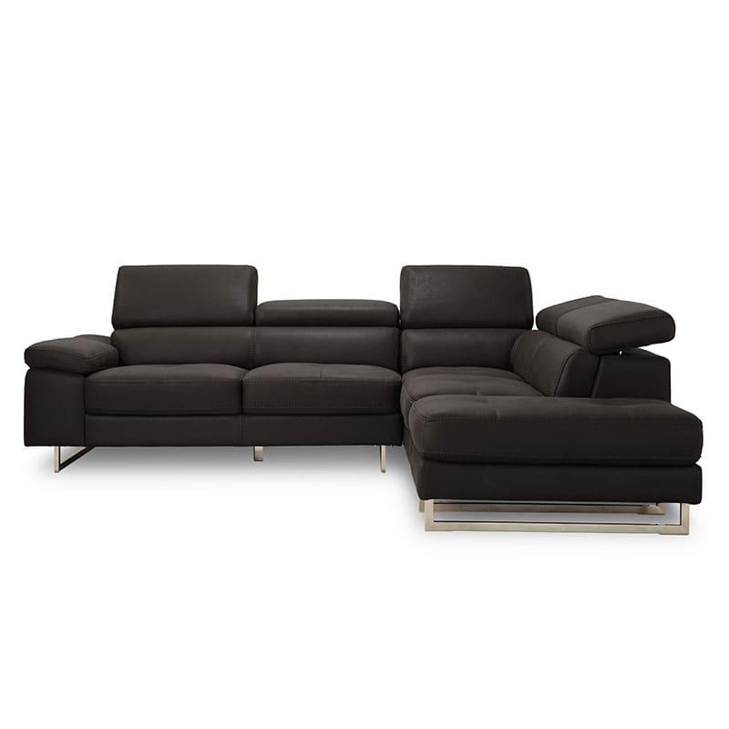 シェーズロングソファー 左カウチ プレーゴ(ブラック):イタリアンモダンなデザイン