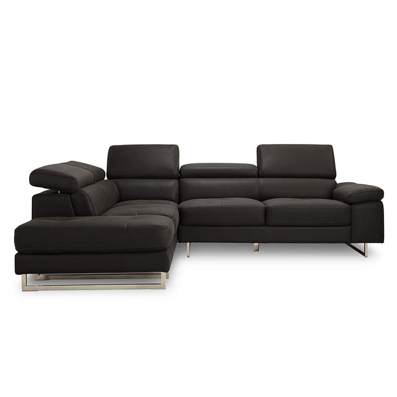 シェーズロングソファー 右カウチ プレーゴ(ブラック):イタリアンモダンなデザイン