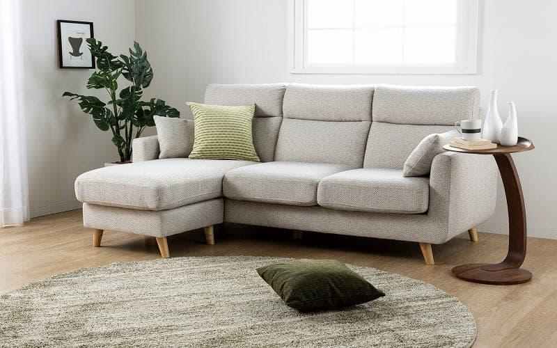 組みかえ型シェーズロングソファー ヨーク 張地YG・脚NA:ソフトな掛け心地のソファ