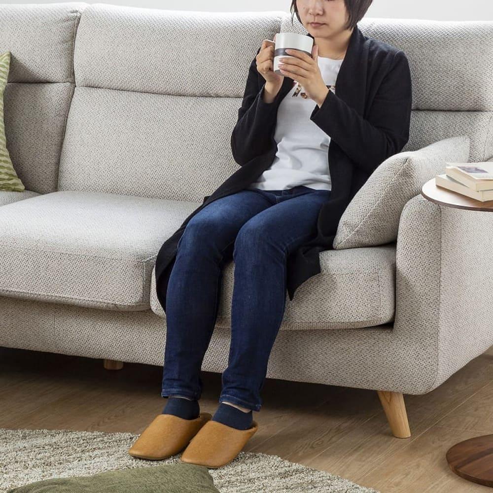 組みかえ型シェーズロングソファー ヨーク 張地YG・脚NA:ソフトで快適な座り心地