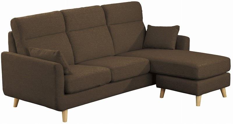 組みかえ型シェーズロングソファー ヨーク 張地BN・脚NA:ソフトな掛け心地のソファ
