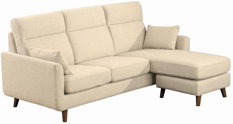組みかえ型シェーズロングソファー ヨーク 張地IV・脚DBR:ソフトな掛け心地のソファ