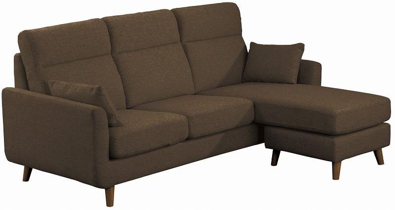 組みかえ型シェーズロングソファー ヨーク 張地BN・脚DBR:ソフトな掛け心地のソファ