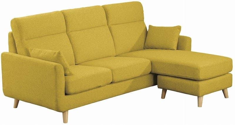2.5人掛けソファー ヨーク 張地YG・脚DBR:ソフトな掛け心地のソファ