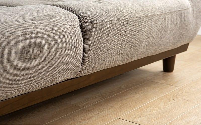 スツール オカリナR (合成皮革BE):ソファを引き締めるウッドライン