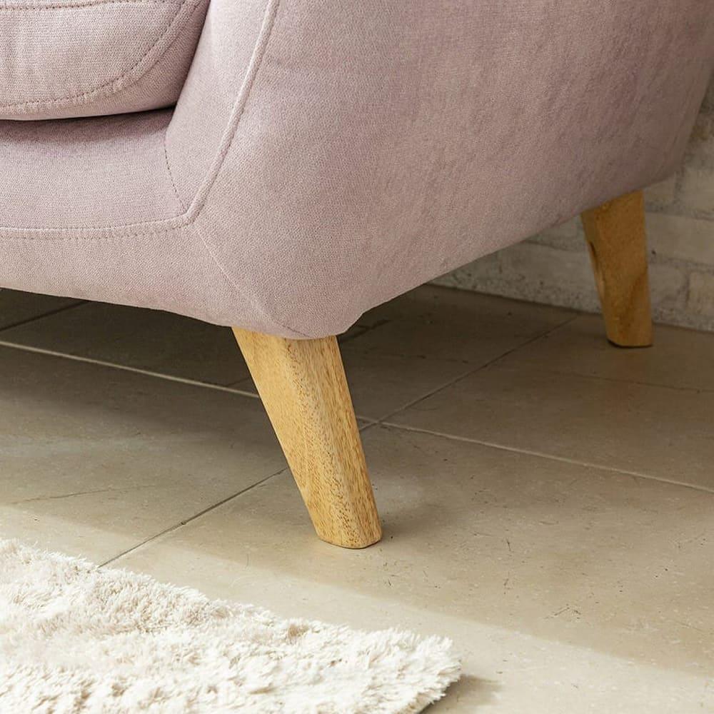 2人掛けソファ フローラ ラベンダー:木脚仕様で優しさをプラス