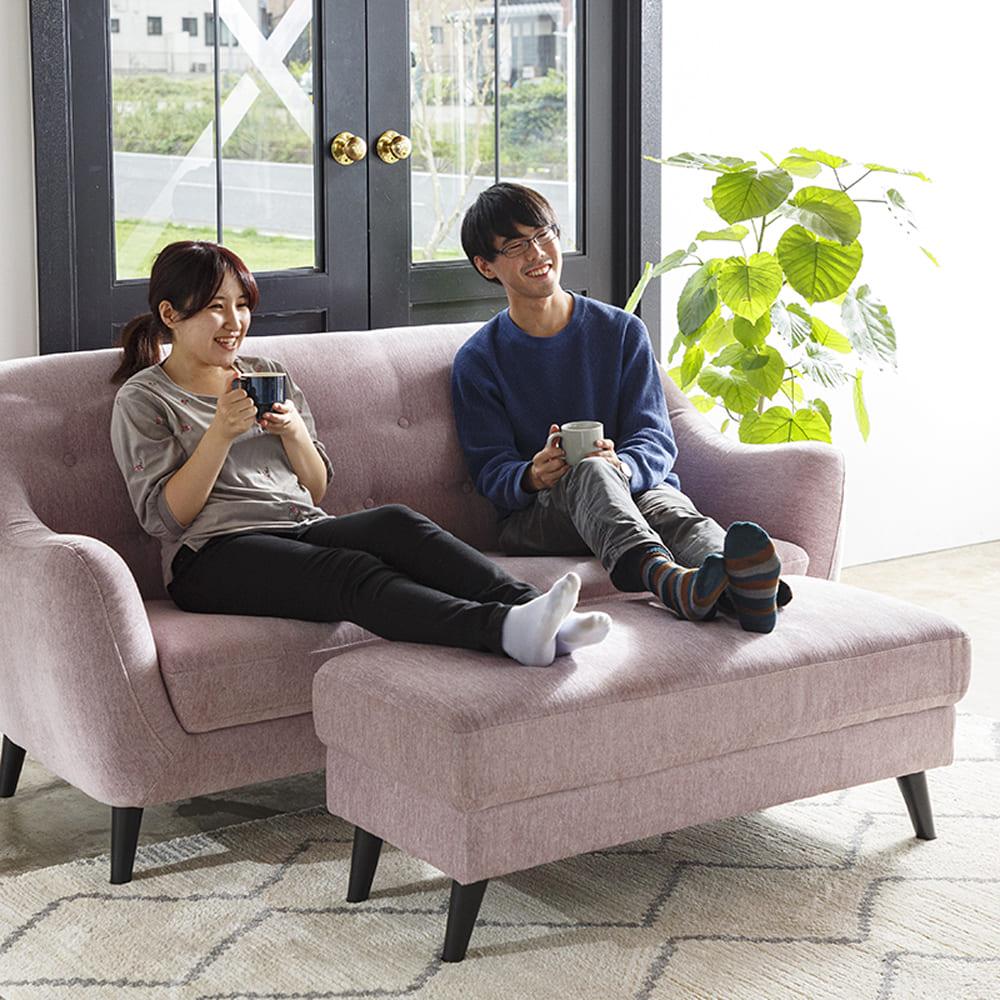 3人掛けソファ フローラ ラベンダー:しっかりした座り心地