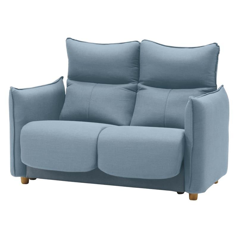 機能付2人掛けソファー フランセ2P BL:背もたれや肘、枕の傾きが変えられる、多機能ソファーです。
