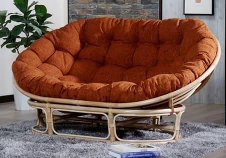 2人掛けソファ パパサンラブシート 01−0590−FS NA/オレンジ:包まれるような座り心地のリラックスチェア