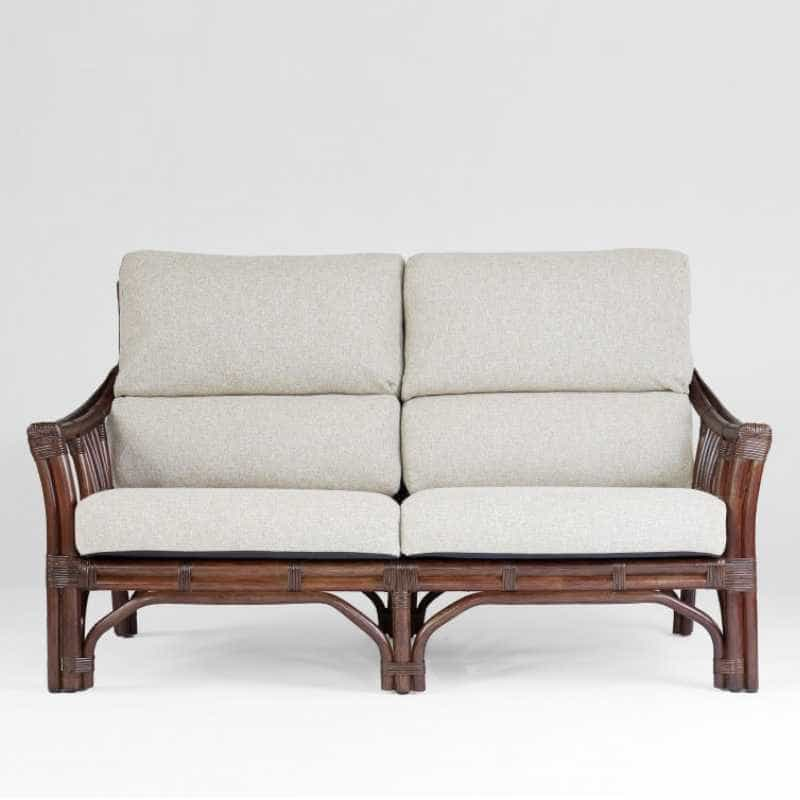 2人掛けソファー サリオス 01−0516−FS WN/#02ベージュ:ラタンとマホガニーの脚を組み合わせてスッキリとしたデザイン
