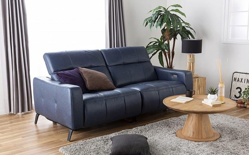 3人掛けソファ ベリーニ ディープブルー:クセになるほど快適なリクライニングソファ
