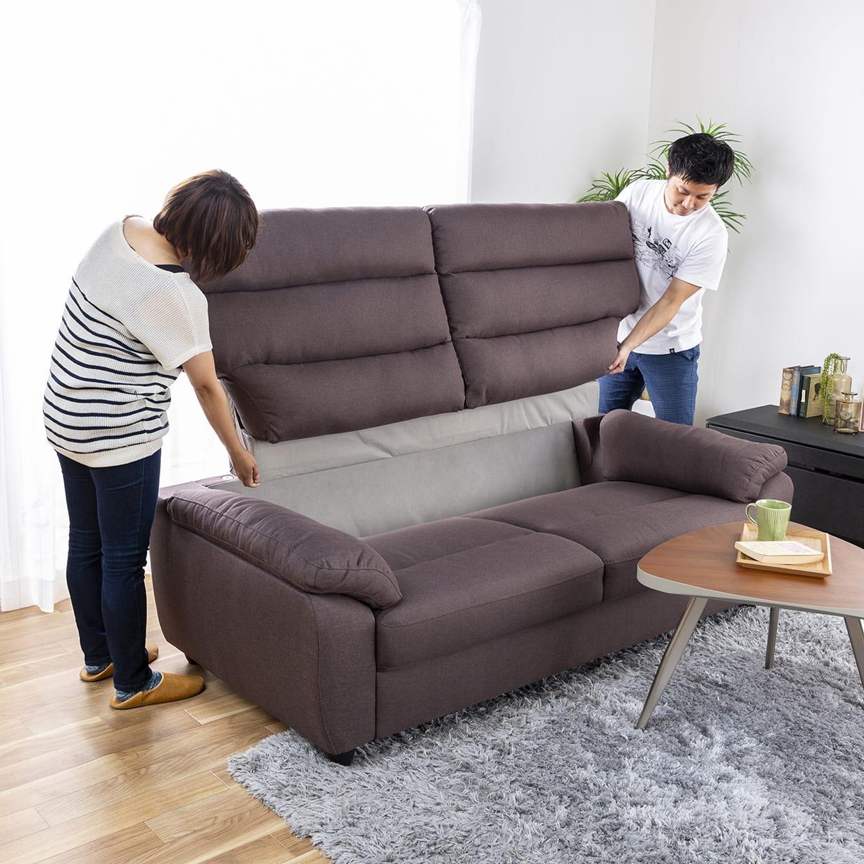3人掛けソファー ファーゴ 3S BE:背部が取り外せて搬入が楽