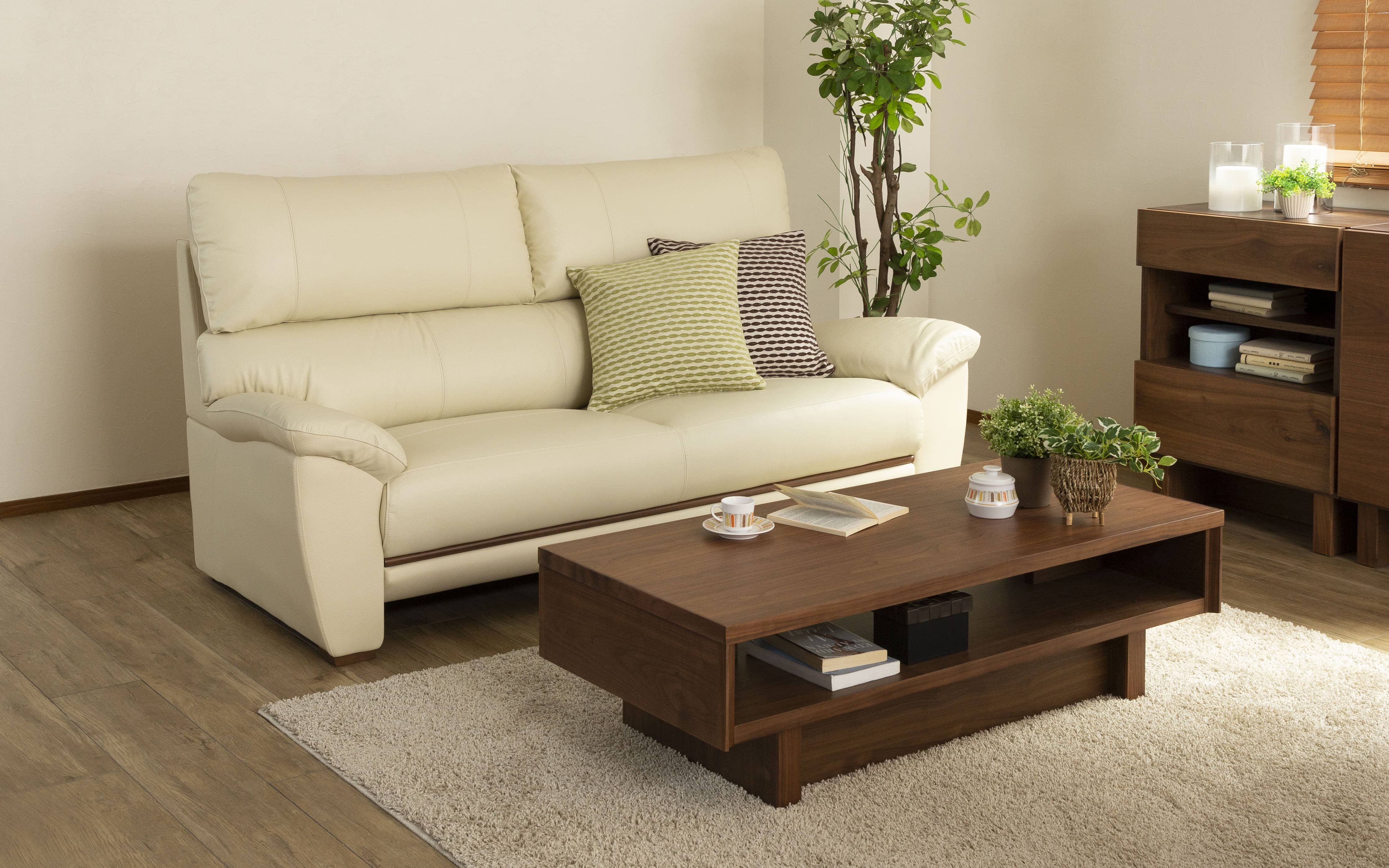 3人掛けソファ デビュー073ソフト3S DBR(本革DBR):お好みの座り心地を選べる上質ソファー