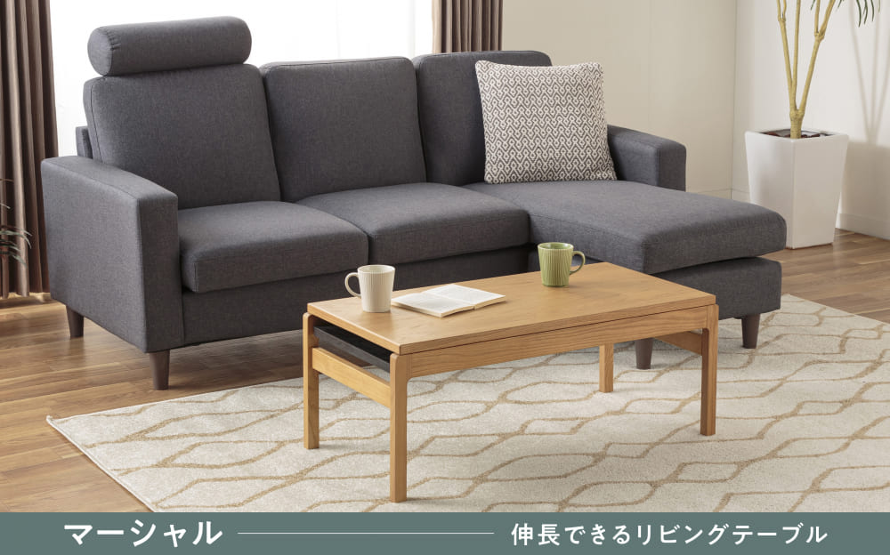 :伸長可能なリビングテーブル