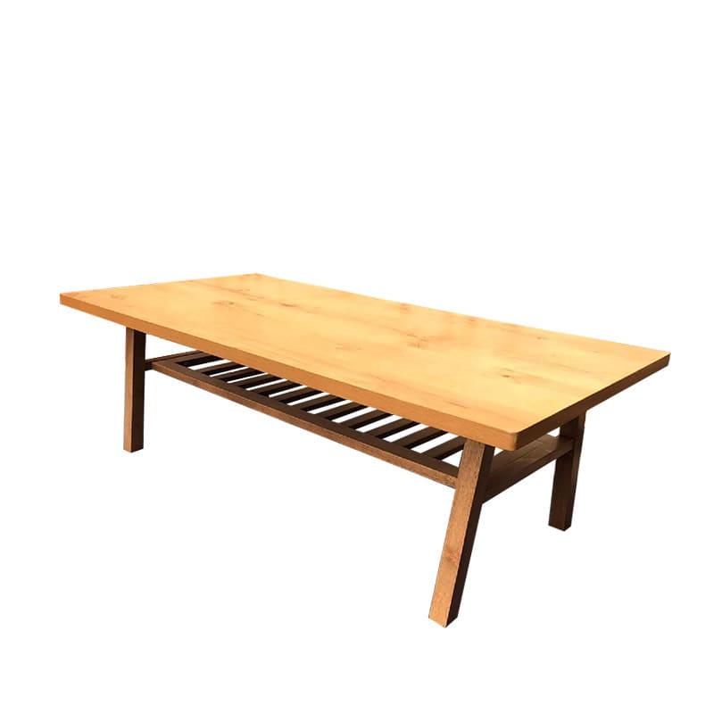 リビングテーブル オークスタイル105:格子タイプの棚板付きで収納に便利です