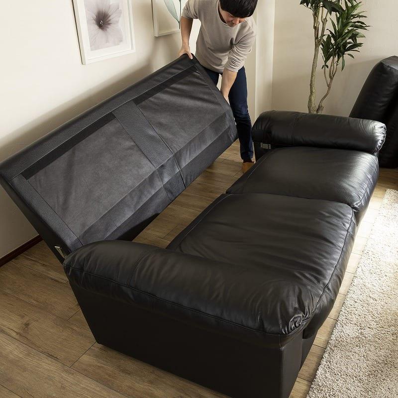 2.5人掛けソファー デビュー076 WH:背もたれを外すノックダウン構造で搬入しやすい設計です