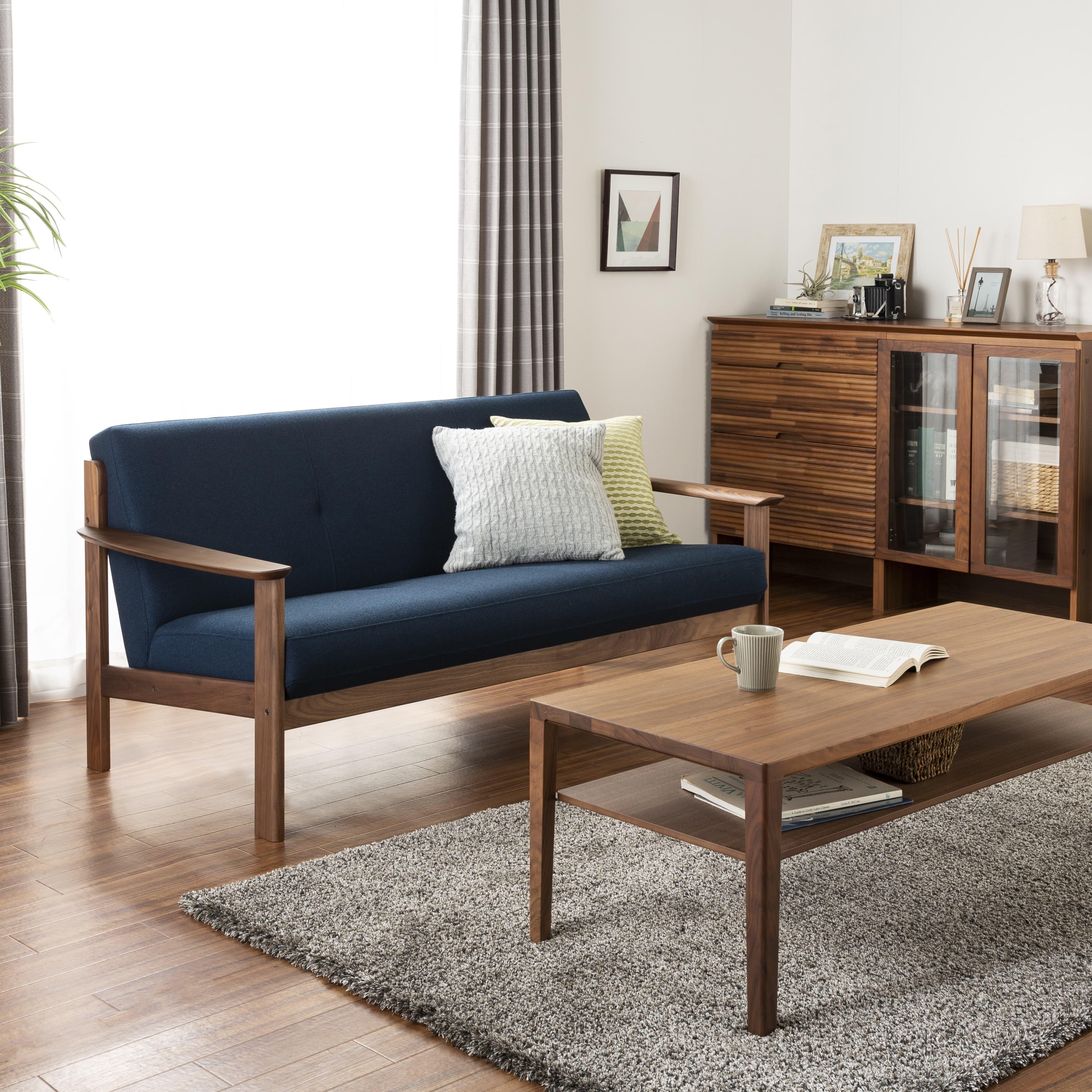 3人掛ソファー W13103 特注ウォールナット(張地:B790):世界3大銘木の木材を使用しているソファー