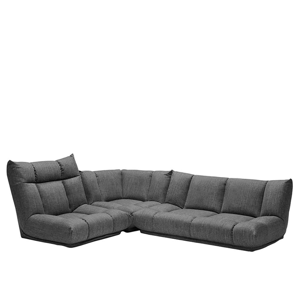 コーナーソファー3点SET GR/レイナ1PH+2PL+C GRY:身体を預けて座れるしっかりとした座り心地