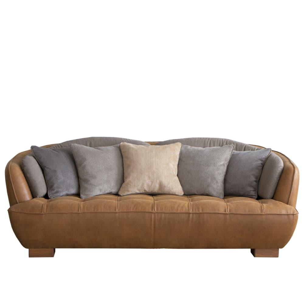3人掛けソファ オピアムSLT オーカーブラウン:上質な厚革の感触を実現した新素材「レザーテックス」
