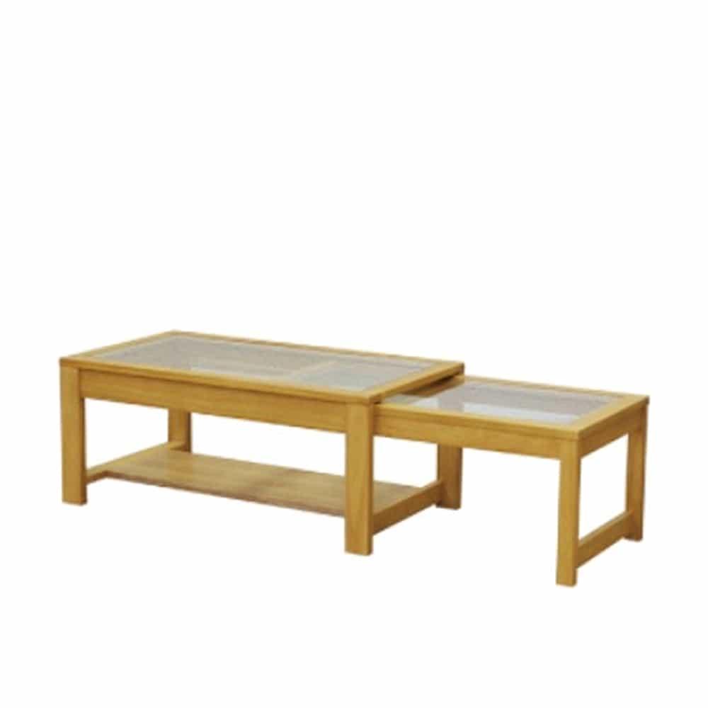 リビングテーブル キャリー90伸張センターテーブルLBR:スライドの伸長式センターテーブルで、900�o〜1400�oまで伸長します