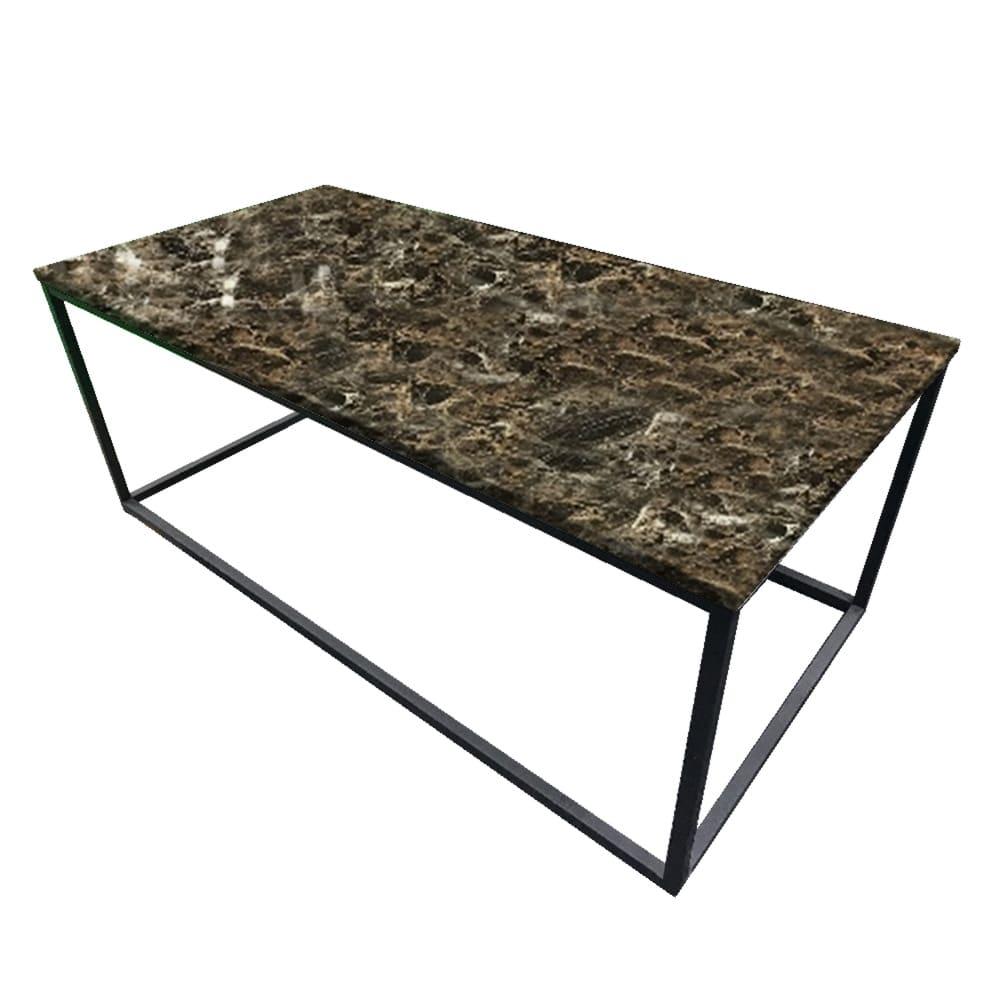 リビングテーブルアクア T−183−0−1260:大理石柄の天板と細いスチール脚を組み合わせた洗礼されたデザインです