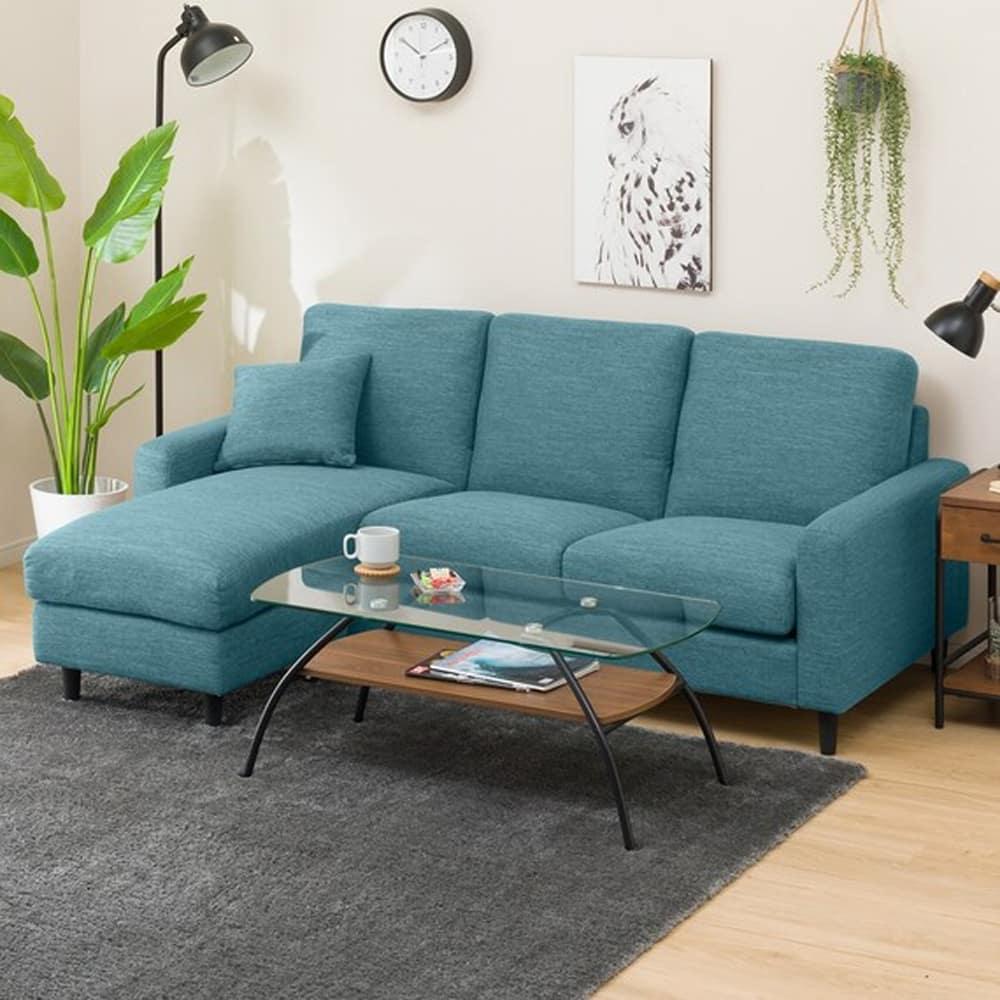 【ニトリ】 シェーズロングソファ CA2 DR−TBL ターコイズブルー:お部屋の雰囲気に合わせて組み換え自在!