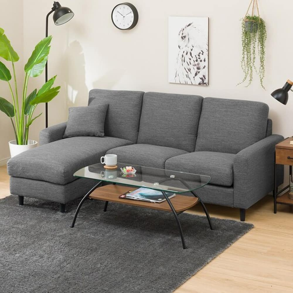 【ニトリ】 シェーズロングソファ CA2 DR−GY グレー:お部屋の雰囲気に合わせて組み換え自在!