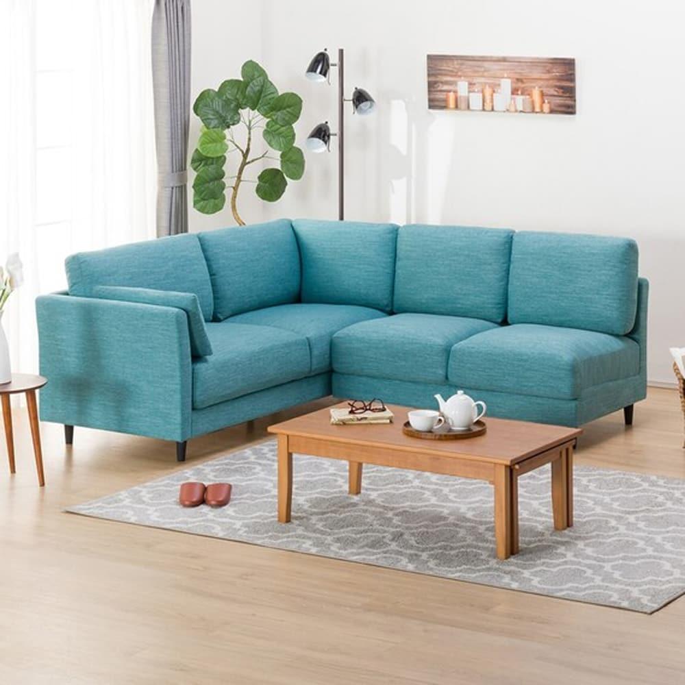 【ニトリ】 コーナーソファセット(クッション2個付) CA10 DR−TBL ターコイズブルー:お部屋のスペースや使い方に合わせて、色々な組み合わせが選べます。