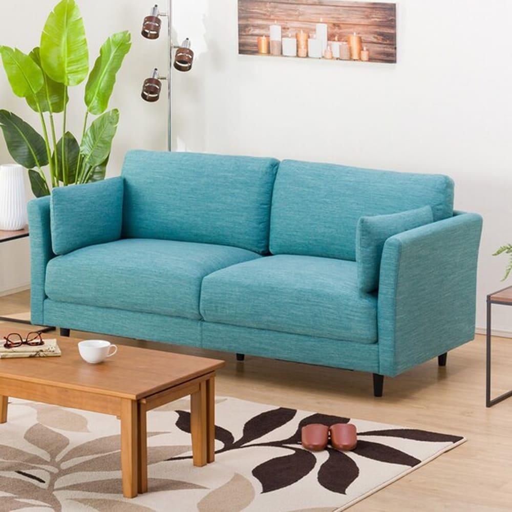 【ニトリ】 3人掛けソファ(クッション2個付) CA10 DR−TBL ターコイズブルー:お部屋のスペースや使い方に合わせて、色々な組み合わせが選べます。