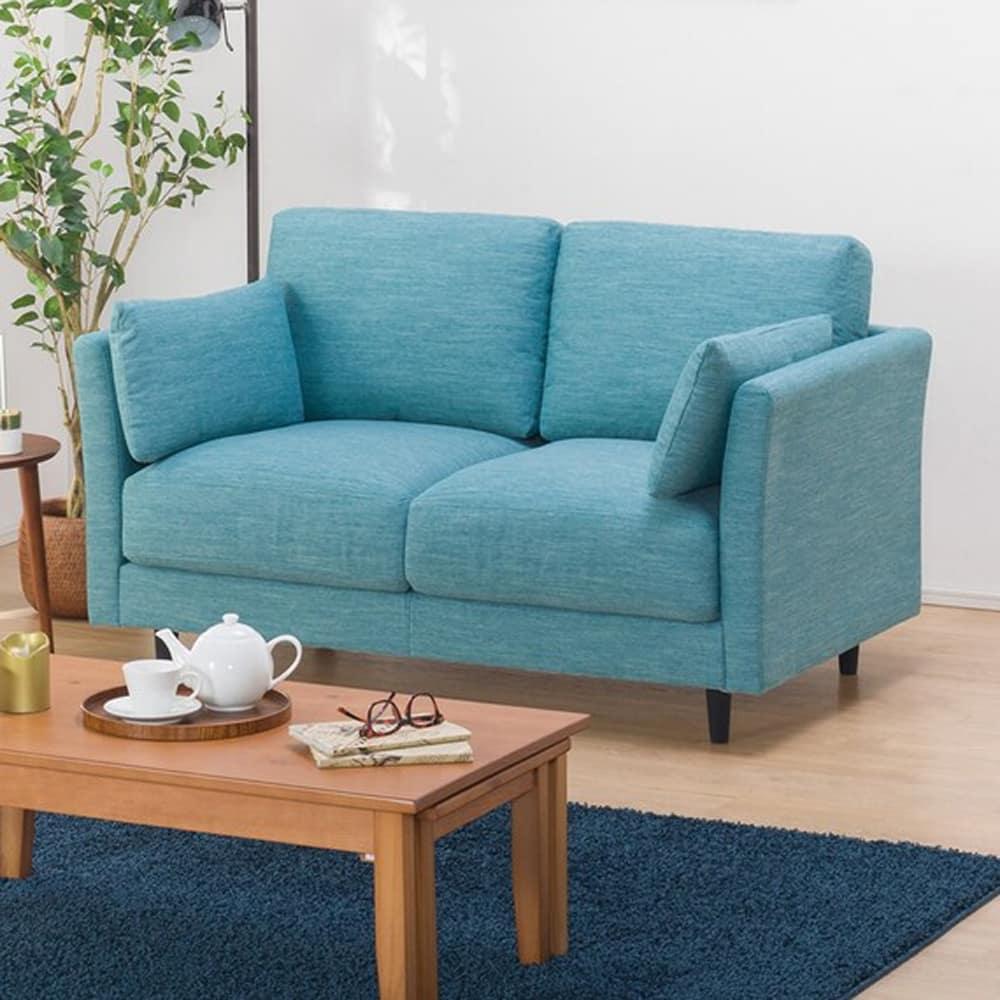 【ニトリ】 2人掛けソファ(クッション2個付) CA10 DR−TBL ターコイズブルー:お部屋のスペースや使い方に合わせて、色々な組み合わせが選べます。