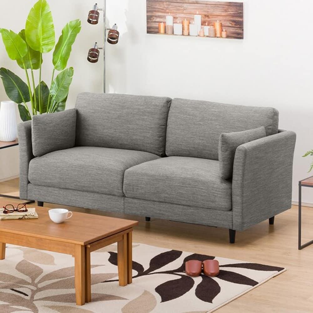 【ニトリ】 3人掛けソファ(クッション2個付) CA10 DR−GY グレー:お部屋のスペースや使い方に合わせて、色々な組み合わせが選べます。