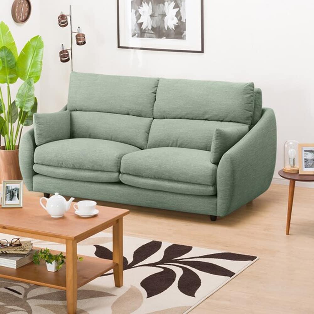 【ニトリ】 3人掛けソファ 3Pソファ Nポケット A9H DR−GGR グレイッシュグリーン:柔らかさと弾力性を合わせたベッドのような心地よさのソファ。