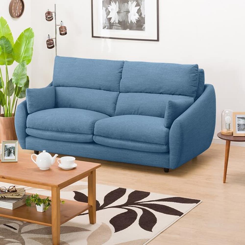 【ニトリ】 3人掛けソファ 3Pソファ Nポケット A9H DR−LBL ライトブルー:柔らかさと弾力性を合わせたベッドのような心地よさのソファ。