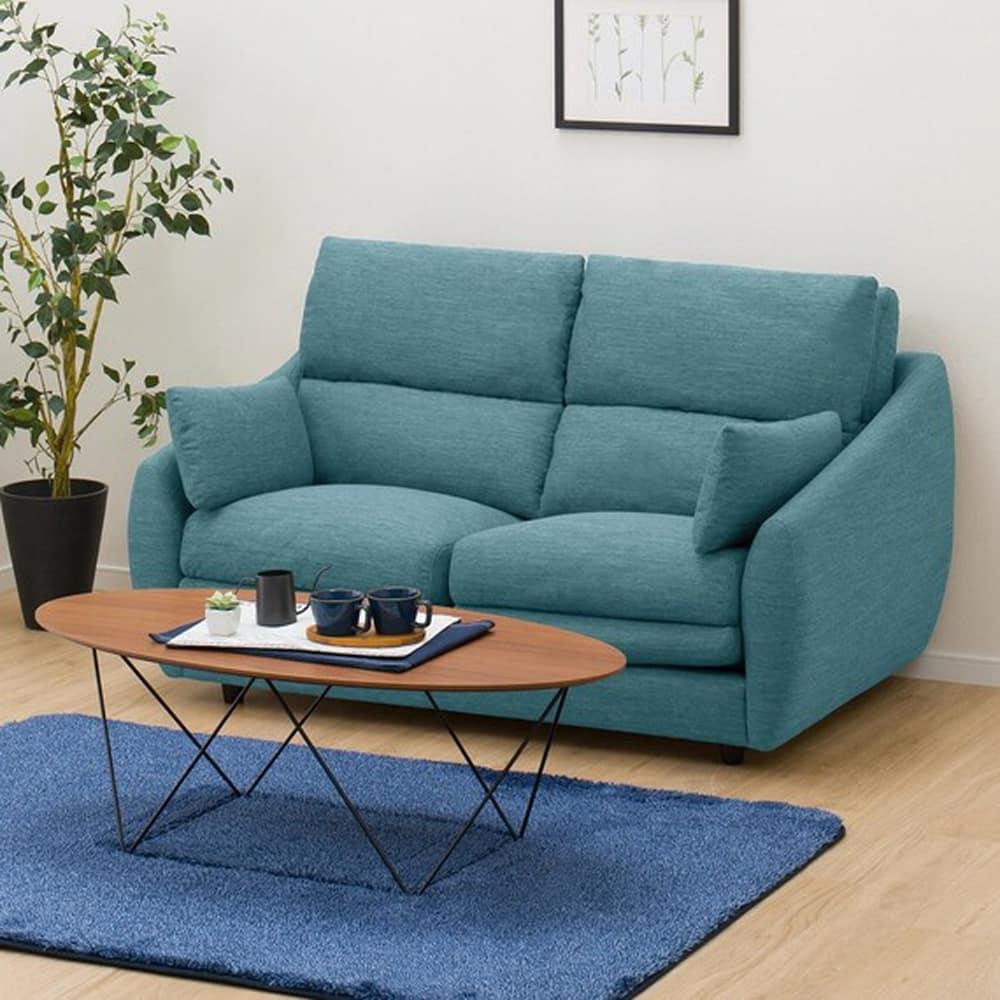 【ニトリ】 2人掛けソファ 2Pソファ Nポケット A9H DR−TBL ターコイズブルー:柔らかさと弾力性を合わせたベッドのような心地よさのソファ。
