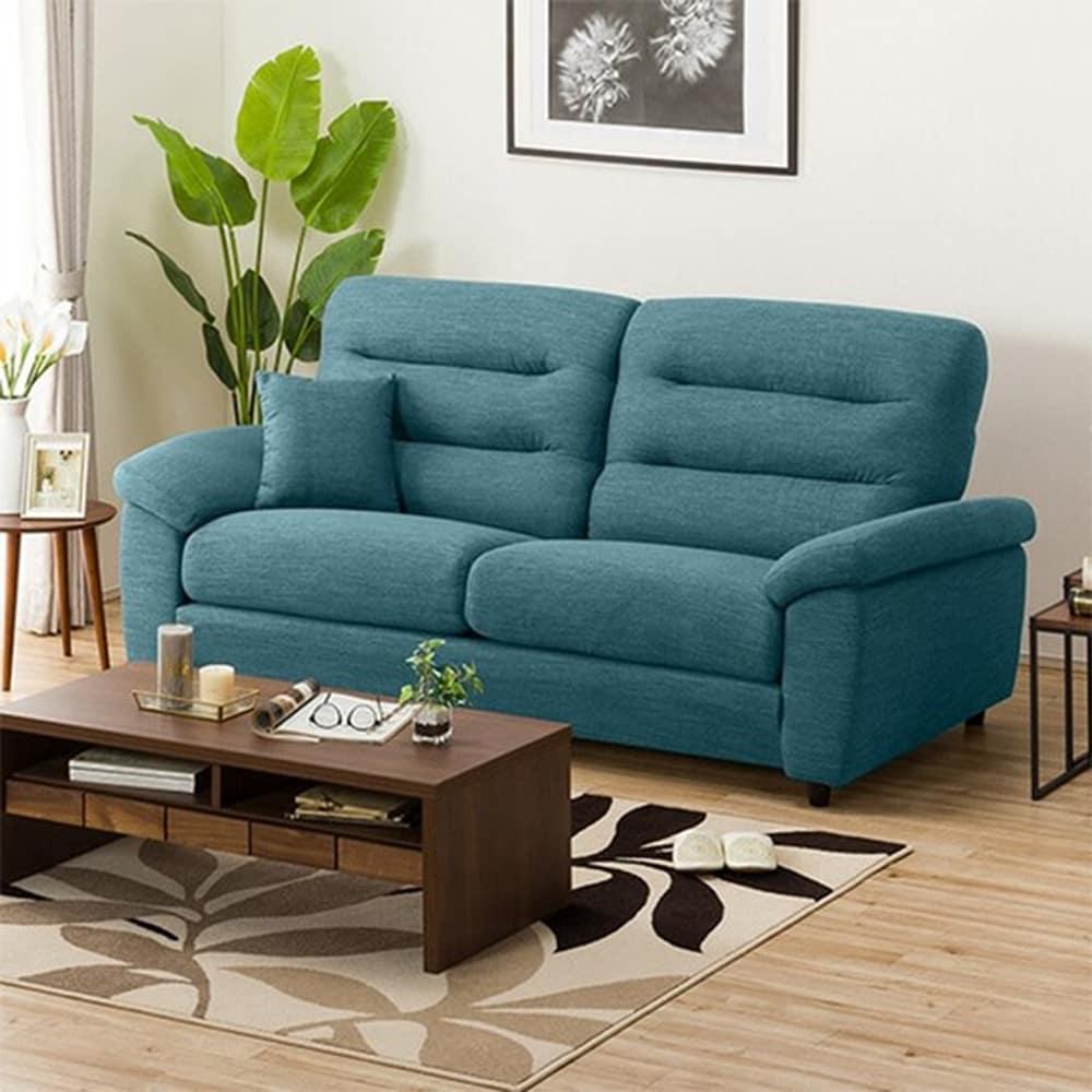 【ニトリ】 3人掛けソファ(クッション1個付) Nポケット A12 H−HI DR−TBL ターコイズブルー:お好みの座面の高さ&固さが選べるソファ。