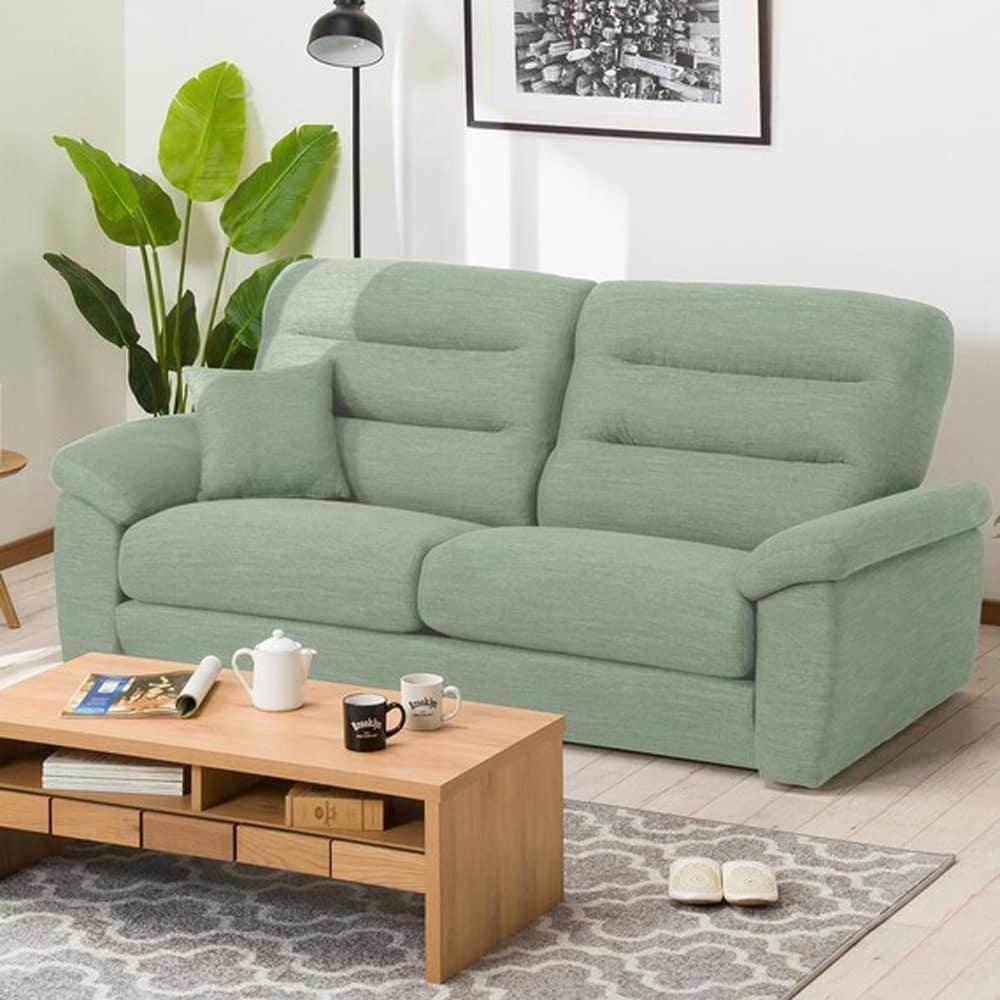 【ニトリ】 3人掛けソファ(クッション1個付) Nポケット A12 S−LO DR−GGR グレイッシュグリーン:お好みの座面の高さ&固さが選べるソファ。