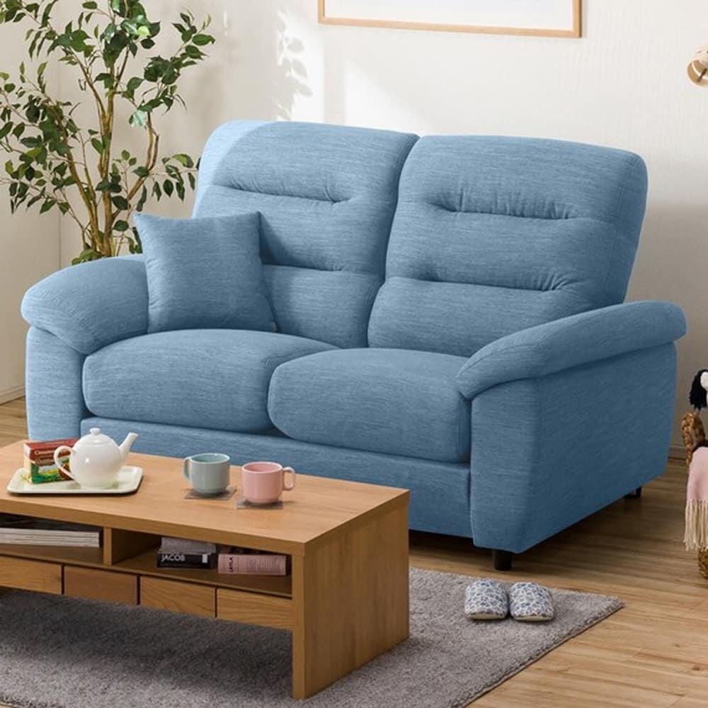 【ニトリ】 2人掛けソファ(クッション1個付) Nポケット A12 S−HI DR−LBL ライトブルー:お好みの座面の高さ&固さが選べるソファ。