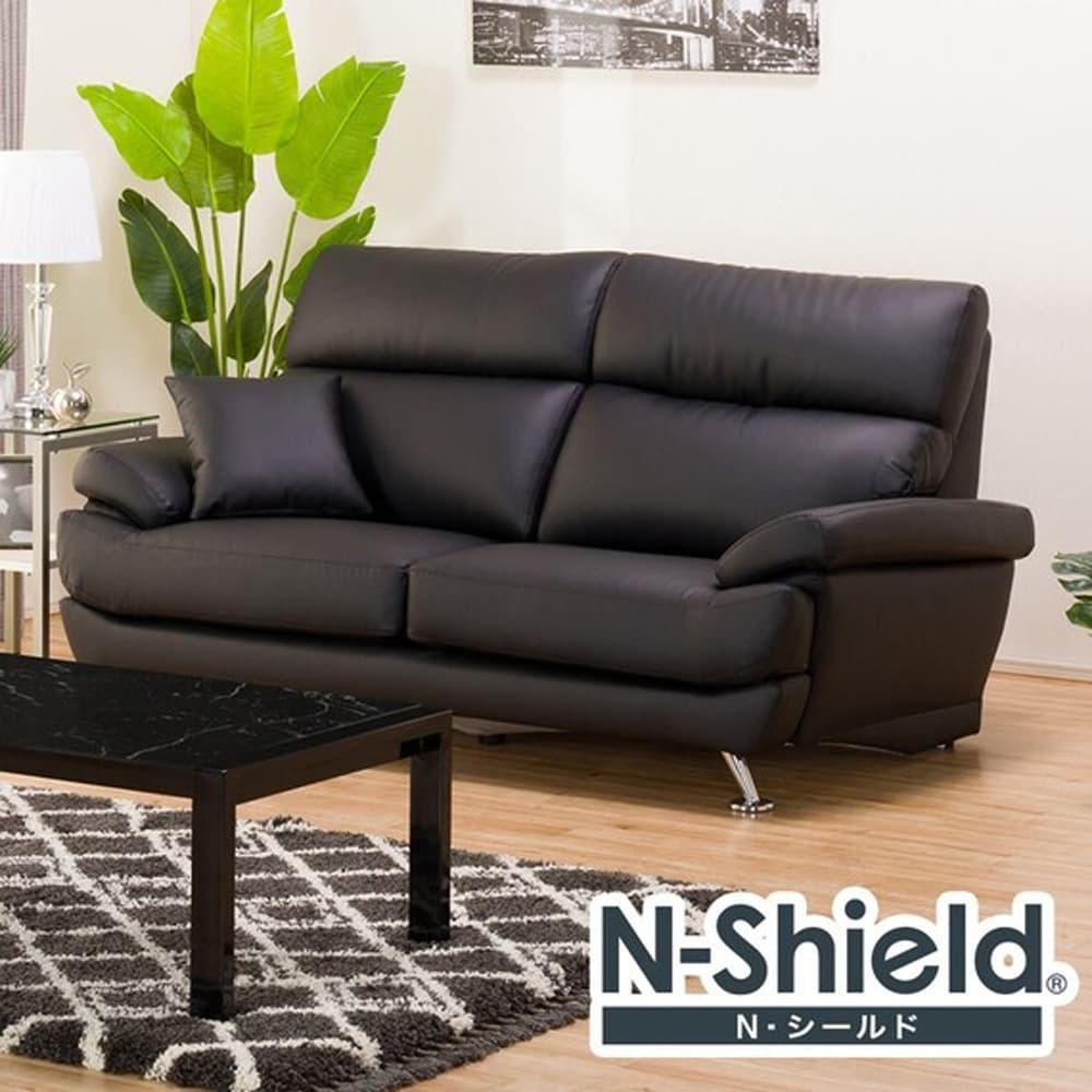 【ニトリ】 3人掛けソファ Nシールド A13 BK ブラック:座面には横になってもベッドような心地良さのポケットコイルを使用。