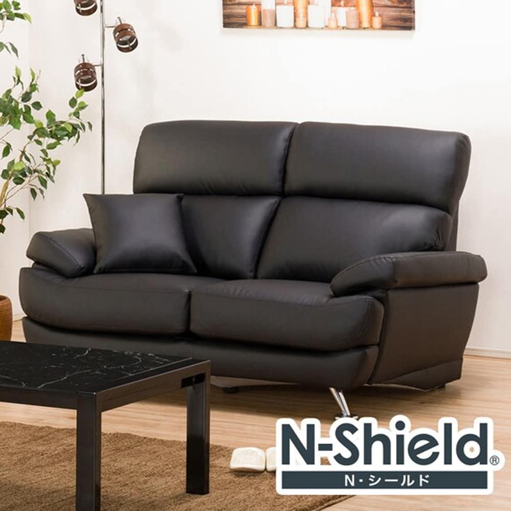 【ニトリ】 2人掛けソファ Nシールド A13 BK ブラック:座面には横になってもベッドような心地良さのポケットコイルを使用。